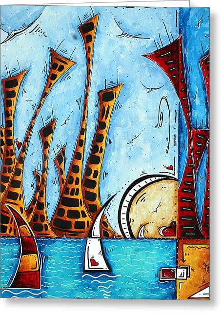 Best Sellers -  - Yellow Sailboats Greeting Cards - Nautical Coastal Art Original Contemporary Cityscape Painting CITY BY THE BAY by MADART Greeting Card by Megan Duncanson