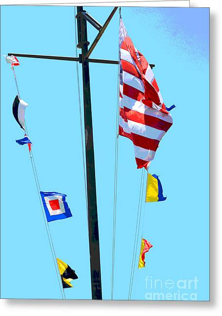 Waterscape Mixed Media Greeting Cards - Nautical flags - American Flag  Photography Greeting Card by ArtyZen Studios - ArtyZen Home