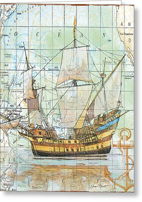 Etching Digital Greeting Cards - Nautical Journey-A Greeting Card by Jean Plout