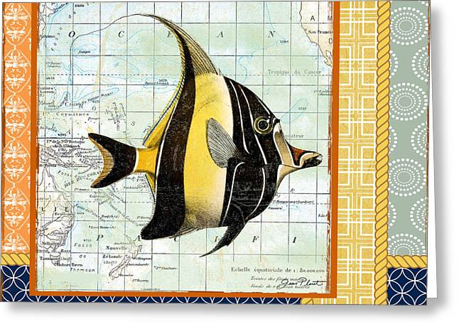 Colored Shell Digital Art Greeting Cards - Nautical Journey-Angel Fish Greeting Card by Jean Plout