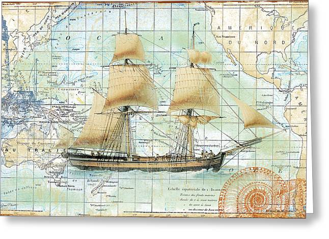 Convention Digital Art Greeting Cards - Nautical Journey-B Greeting Card by Jean Plout