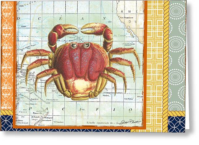 Colored Shell Digital Art Greeting Cards - Nautical Journey-Crab Greeting Card by Jean Plout