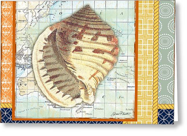 Colored Shell Digital Art Greeting Cards - Nautical Journey-Shell A Greeting Card by Jean Plout