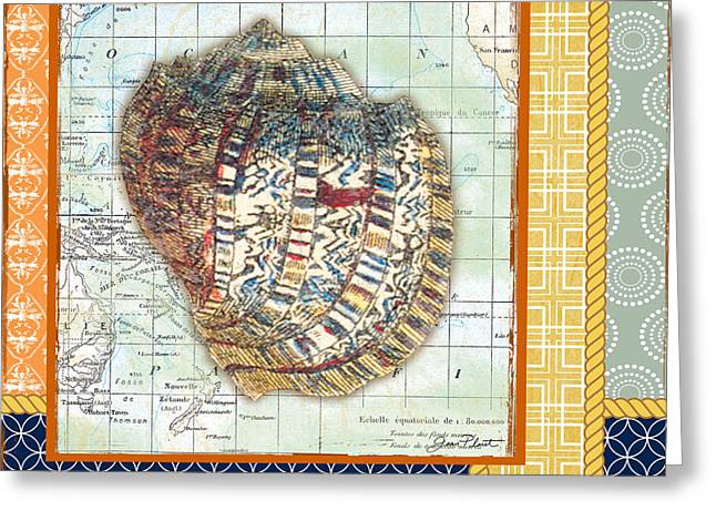 Colored Shell Digital Art Greeting Cards - Nautical Journey-Shell C Greeting Card by Jean Plout
