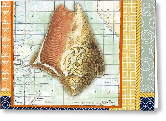Colored Shell Digital Art Greeting Cards - Nautical Journey-Shell D Greeting Card by Jean Plout