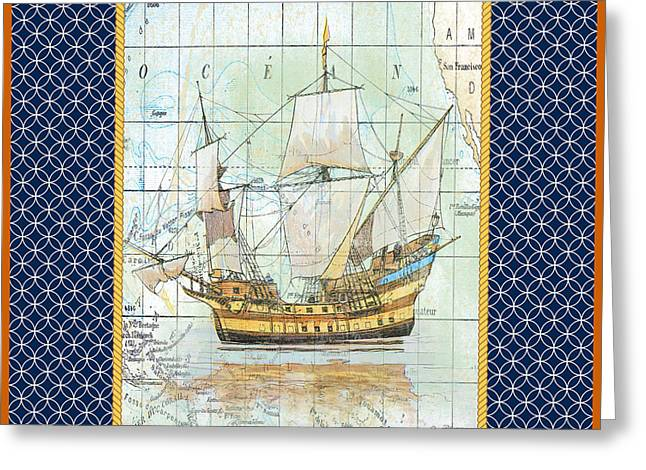 Sea Shell Digital Art Greeting Cards - Nautical Journey-Ship A Greeting Card by Jean Plout