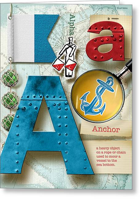Nato Greeting Cards - Navy Alphabet  Nautical Letter A Greeting Card by Vanessa Bates