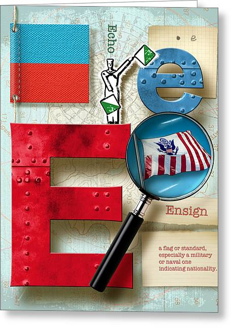 Nato Greeting Cards - Navy Alphabet Nautical Letter E Greeting Card by Vanessa Bates