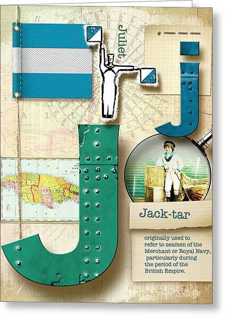 Letter J Greeting Cards - Navy Alphabet Nautical Letter J Greeting Card by Vanessa Bates