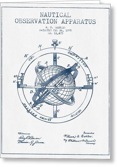 Ships Compass Greeting Cards - Nautical Observation Apparatus Patent From 1895  -  Blue Ink Greeting Card by Aged Pixel