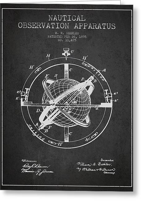 Ships Compass Greeting Cards - Nautical Observation Apparatus Patent From 1895 - Dark Greeting Card by Aged Pixel