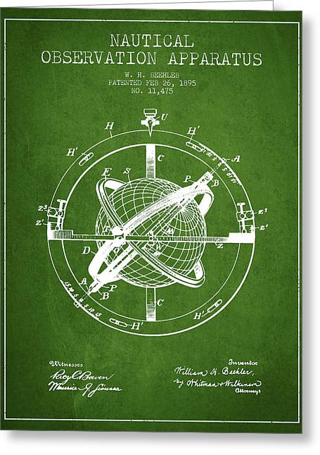 Ships Compass Greeting Cards - Nautical Observation Apparatus Patent From 1895 - Green Greeting Card by Aged Pixel