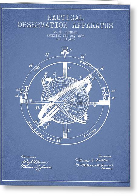 Ships Compass Greeting Cards - Nautical Observation Apparatus Patent From 1895 - Light Blue Greeting Card by Aged Pixel