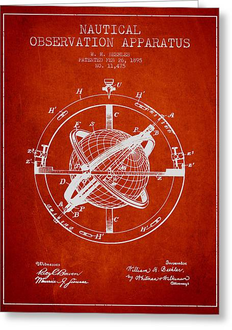Ships Compass Greeting Cards - Nautical Observation Apparatus Patent From 1895 - Red Greeting Card by Aged Pixel
