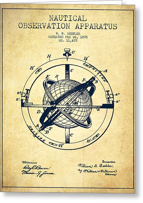 Ships Compass Greeting Cards - Nautical Observation Apparatus Patent From 1895 - Vintage Greeting Card by Aged Pixel