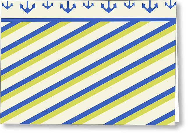 Ocean . Beach Decor Mixed Media Greeting Cards - Nautical Pattern Greeting Card by Christina Rollo