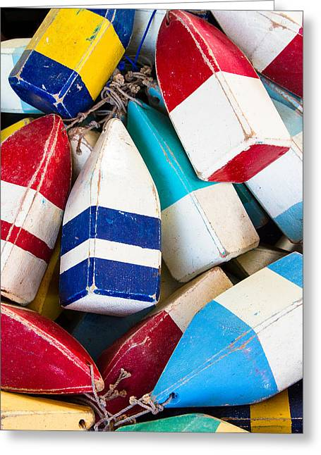 Commercial Fishing Greeting Cards - Nautical Photograph Wood Fishing Floats - Colorful Wall Art Greeting Card by Bill Swindaman