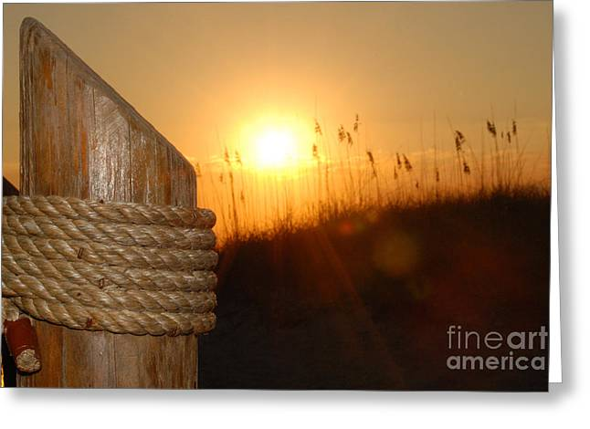 Docked Sailboats Photographs Greeting Cards - Nautical Rope Sunset Greeting Card by Jt PhotoDesign