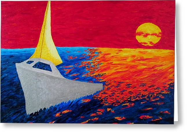 Sailing Ship Greeting Cards - Nautical Sunset Greeting Card by Ron Kandt