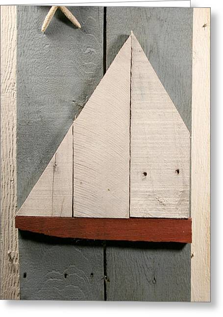 Stream Sculptures Greeting Cards - Nautical Wood Art 01 Greeting Card by John Turek