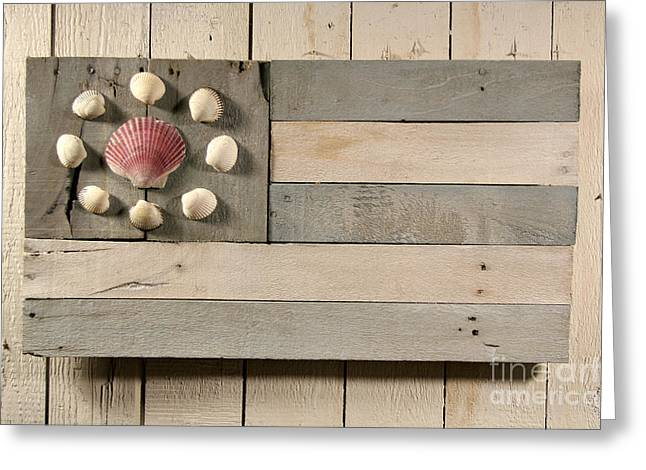 Folk Art Sculptures Greeting Cards - Nautical Wood Flag 01 Greeting Card by John Turek