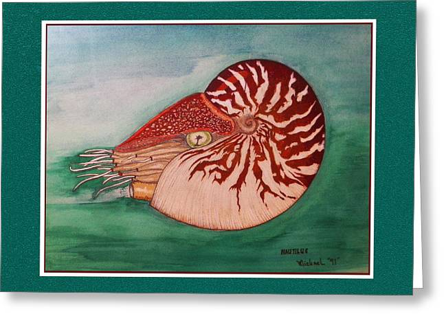 Sea Shell Drawings Greeting Cards - Nautilus in its Shell Swimming Greeting Card by Michael Shone SR