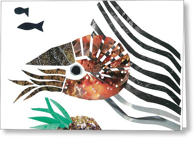 Invertebrates Mixed Media Greeting Cards - Nautilus Greeting Card by Earl ContehMorgan