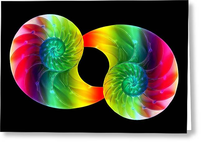Colored Shell Greeting Cards - Nautilus Rainbow Greeting Card by Gill Billington