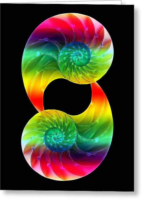 Geometric Image Greeting Cards - Nautilus Rainbow Vertical Greeting Card by Gill Billington