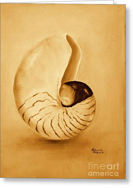 Seashell Picture Paintings Greeting Cards - Nautilus sea shell Greeting Card by Gabriela Valencia
