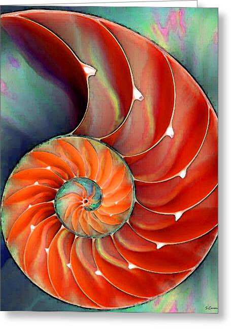 Red Digital Art Greeting Cards - Nautilus Shell - Natures Perfection Greeting Card by Sharon Cummings