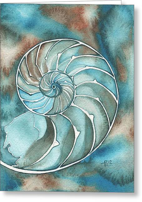 Sea Shell Art Paintings Greeting Cards - Nautilus Greeting Card by Tamara Phillips