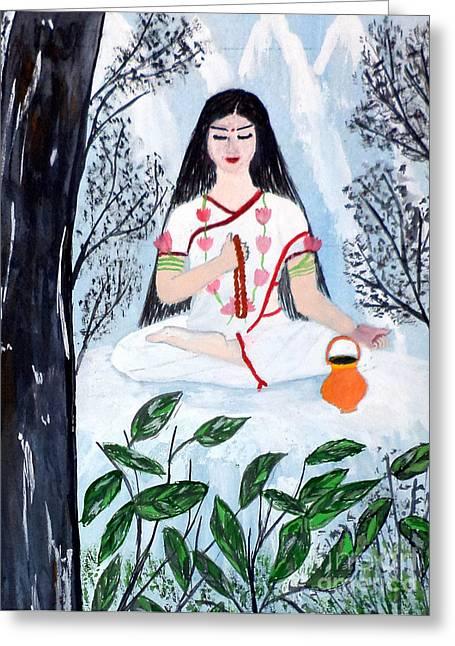 Nine Durgas Greeting Cards - Nava Durga Brahmacharini Greeting Card by Pratyasha Nithin