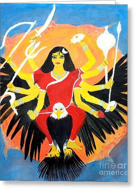 Nine Durgas Greeting Cards - Nava Durga ChandraGhanta Greeting Card by Pratyasha Nithin
