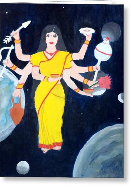 Nine Durgas Greeting Cards - Nava Durga Kusmaanda Greeting Card by Pratyasha Nithin