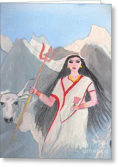 Hindu Goddess Paintings Greeting Cards - Nava Durga Shailputri Greeting Card by Pratyasha Nithin