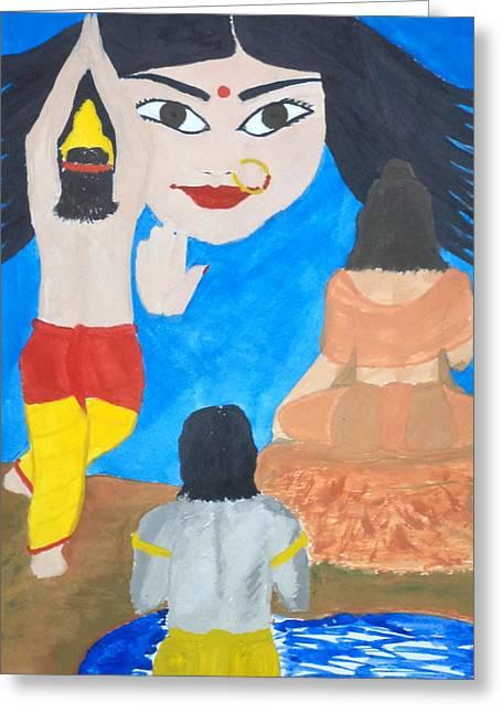 Nine Durgas Greeting Cards - Nava Durga Siddhidaatri Greeting Card by Pratyasha Nithin