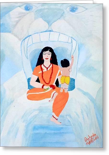 Hindu Goddess Greeting Cards - Nava Durga Skandmata Greeting Card by Pratyasha Nithin