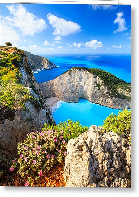 Greece Photographs Greeting Cards - Navagio Bay Greeting Card by Evgeni Dinev