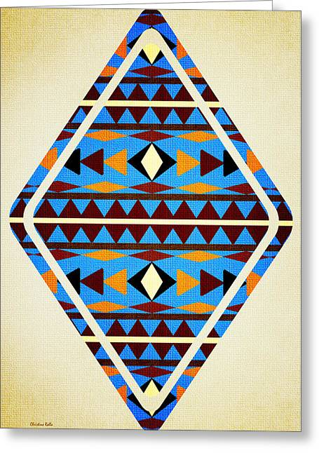 Geometric Shape Mixed Media Greeting Cards - Navajo Blue Pattern Aged Greeting Card by Christina Rollo