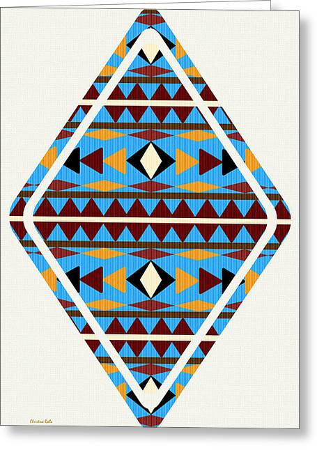 Geometric Shape Mixed Media Greeting Cards - Navajo Blue Pattern Art Greeting Card by Christina Rollo
