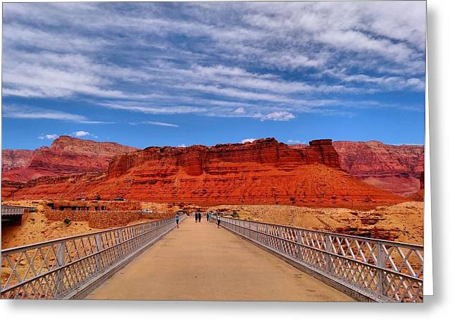 Red Rock Crossing Greeting Cards - Navajo Bridge Greeting Card by Dan Sproul