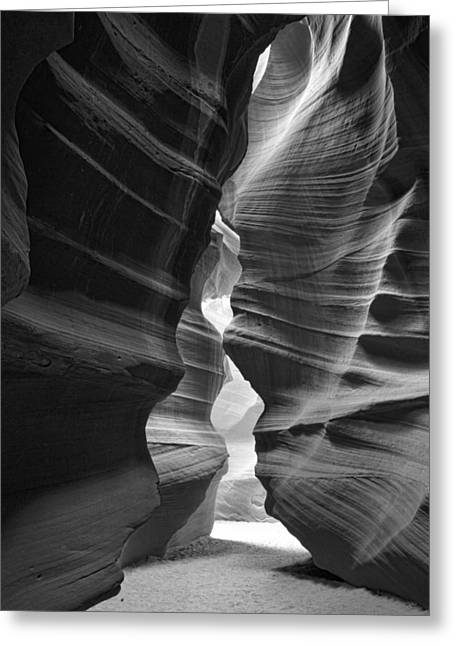 Canyon Lands Greeting Cards - Antelope Canyon Black and White Greeting Card by Jonathan Davison