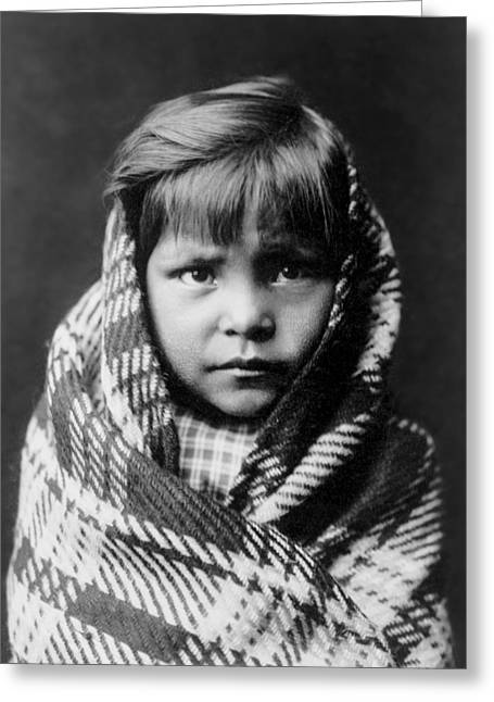 Gatherers Greeting Cards - Navajo child Greeting Card by Aged Pixel