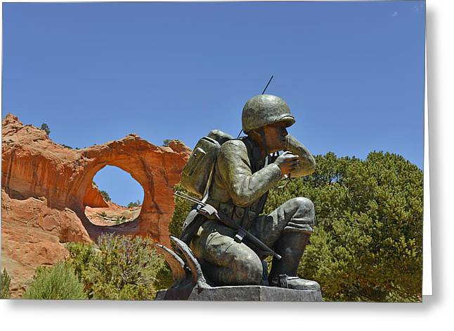 Messenger Greeting Cards - Navajo Code Talker - Window Rock AZ Greeting Card by Christine Till