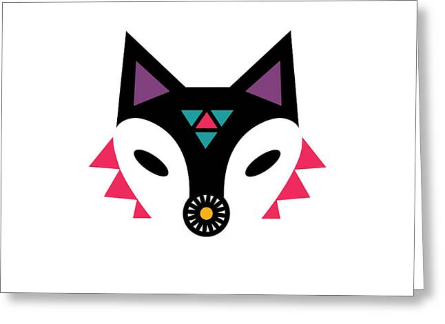 Geometric Animal Greeting Cards - Navajo Fox Greeting Card by Susan Claire