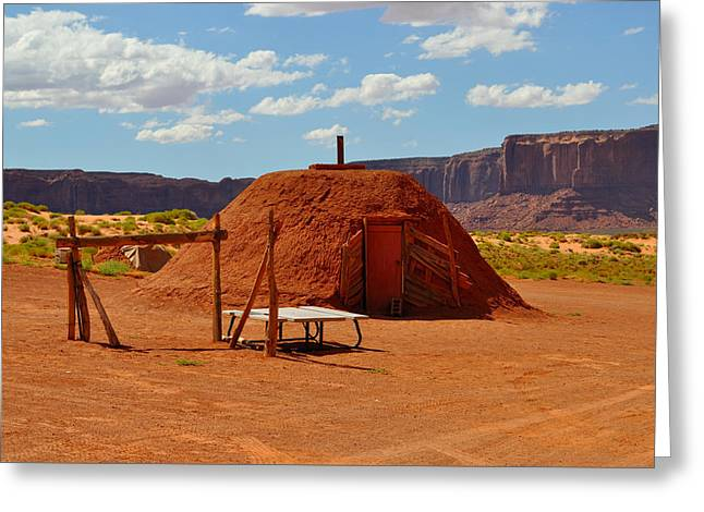Mitchell Butte Greeting Cards - Navajo Home Greeting Card by Ruben Barbosa