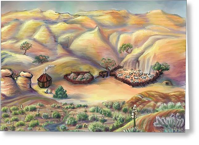 Evening Scenes Pastels Greeting Cards - Navajo Landscape - Age Eleven Greeting Card by Dawn Senior-Trask