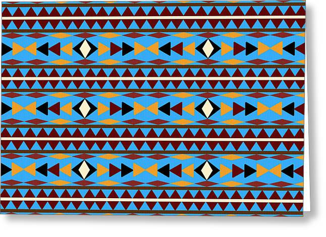 Geometric Shape Mixed Media Greeting Cards - Navajo Blue Pattern Greeting Card by Christina Rollo