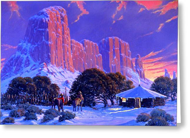 4 Corners Greeting Cards - Navajo Sunset Greeting Card by Randy Follis